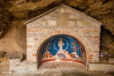 Monasteries of Meteora - Meteora: A tiny chapel nearby the entrance to the Megalo Meteoro Monastery. The chapel was carved out of the rock. The Megalo Meteoro...