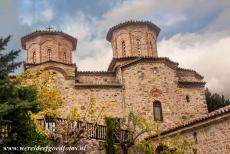 Monasteries of Meteora - Meteora: The domes of the Katholikon of the Varlaam Monastery, the Katholikon is the central church of the monastery. The Katholikon of...