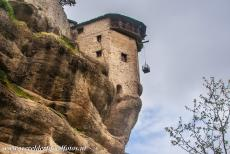 Monasteries of Meteora - Meteora: The tower of the Varlaam Monastery contains the windlass. In the past, a huge basket was used for bringing up monks and supplies. The...