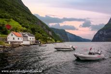 Geirangerfjord and Nærøyfjord - West Norwegian Fjords - Geirangerfjord and Nærøyfjord: A sunset over the Nærøyfjord. Despite the almost...