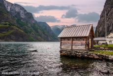 Geirangerfjord and Nærøyfjord - West Norwegian Fjords - Geirangerfjord and Nærøyfjord: A fisherman's hut on the banks of the Nærøyfjord. The...