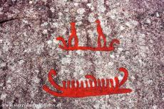 Rock Carvings in Tanum - Rock Carvings in Tanum: A detail of the Vitlycke rock, the rock carvings depict boats with people aboard. Most of the carvings at Tanum have been...