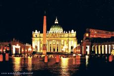 Vatican City - Vatican city: The St. Peter's Basilica and the Egyptian obelisk by night. Vatican City is the smallest independent state in the...