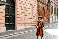 Vatican City - Vatican: A Swiss Guard in his traditional uniform. The Swiss Guard is responsible for the safety of the Pope, but it also serves as a...