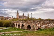 Old City of Salamanca - Old City of Salamanca: The Roman bridge of Salamanca, in the background the Cathedral of Salamanca. The Roman bridge is also known as...