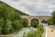 Semmering Railway - Semmering Railway: The Schwarza viaduct crossing the Schwarza River, the viaduct is located in Payerbach, it is 228 metres long and 25 metres...