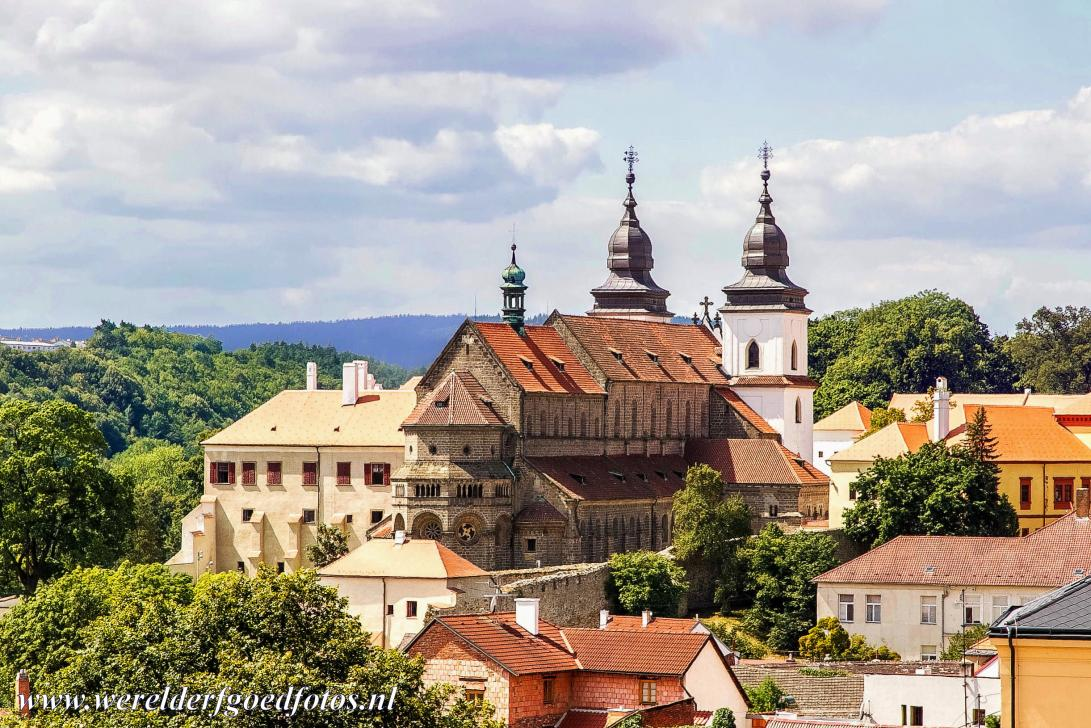 Jewish Quarter and St Procopius Basilica, Třebíč - The St. Procopius' Basilica in Třebíč, in front a few houses of the Jewish Quarter. Třebíč is a town in the Moravian part of the...