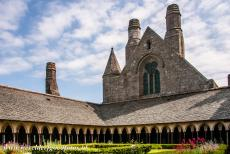 Mont Saint-Michel - Mont Saint-Michel and its Bay: The Abbey Church of Mont Saint-Michel and the cloister garden. The Abbey Church seems to have a window in the...