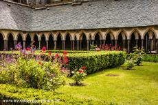Mont Saint-Michel - Mont Saint-Michel and its Bay: The square cloister garden of the Abbey of Mont Saint-Michel. The charming garden is surrounded by a gallery....