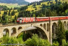 Rhaetian Railway, the Albula and Bernina Lines - Rhaetian Railway in the Albula / Bernina Landscapes: The eleven-arched limestone Solis Viaduct is a single-track railway viaduct. The Solis...