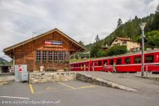Rhaetian Railway, the Albula and Bernina Lines - Rhaetian Railway in the Albula / Bernina Landscapes: The railway station of Tiefencastel. The station is situated on the Albula Line...
