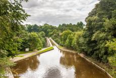 Pontcysyllte Aqueduct - The Llangollen Canal near the Chirk Aqueduct in Wales. The Llangollen Canal is a major tourist attraction in Great Britain. The...