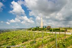 Champagne Hillsides - Champagne Hillsides, Houses and Cellars: The statue of the Madonna and Child on Mont du Gruguet, Gruguet Mount, in Mareuil-sur-Aÿ, surrounded...
