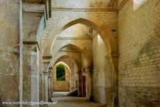 Cistercian Abbey of Fontenay - Cistercian Abbey of Fontenay: A passageway to the Abbey Church. The buildings of the abbey are almost wholly unadorned. The abbey church was built...
