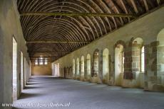 Cistercian Abbey of Fontenay - Cistercian Abbey of Fontenay: The light is shining  through the windows of the dormitory of the monks, creating a pattern of light and...