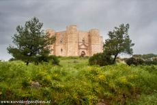 Castel del Monte - A heavy thunderstorm looming over Castel del Monte. Castel del Monte is an octagonal building with an octagonal tower at each...