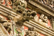 Town Hall and Roland on the Marketplace, Bremen - Town Hall and Roland on the Market Place of Bremen: One of the gargoyles on the façade of the Town Hall of Bremen, the...