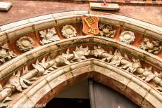 Town Hall and Roland on the Marketplace, Bremen - Town Hall and Roland on the Market Place of Bremen: Decoration above the entrance on the left façade of the Town Hall. Inside are...