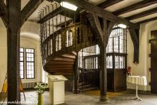 Town Hall and Roland on the Marketplace, Bremen - Town Hall and Roland on the Market Place of Bremen: A spiral staircase inside the Town Hall of Bremen. The Lower Hall is supported by twelve...