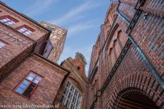 Historic Centre of Stralsund - Historic Centre of Stralsund: A detail of the brick Gothic Old Town Hall. The Old Town Hall of the histiric town of Stralsund was built...