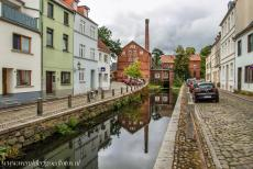 Historic Centre of Wismar - Historic Centre of Wismar: The Old Town Mill on the banks of the Mühlenbach, a section of the Grube, a small artificial stream in...