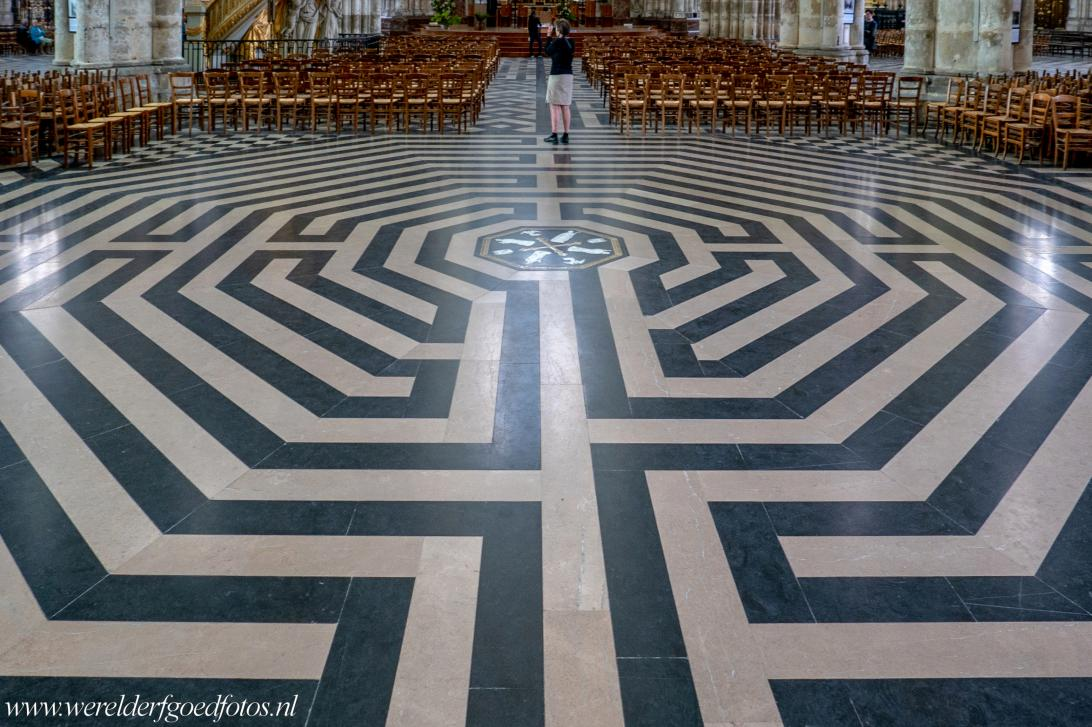 Amiens Cathedral - Amiens Cathedral: The labyrinth of Amiens Cathedral was inlaid in black and white marble in the nave floor in 1288. Labyrinths such...
