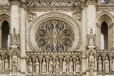 Amiens Cathedral - Amiens Cathedral: The rose window in the west façade is situated above the central part of the richly carved Gallery of the Kings. The...