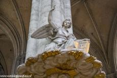 Amiens Cathedral - Amiens Cathedral: The sculpted angel on the sound board of the pulpit. The pulpit was made of white marble in the...