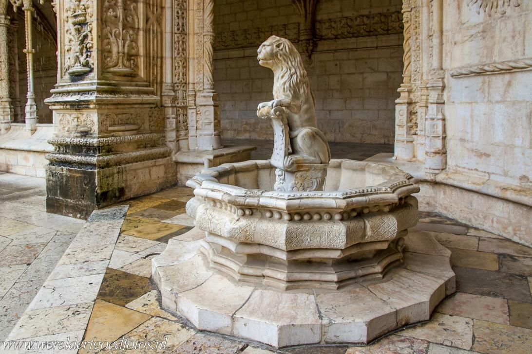 Monastery of the Hieronymites in Lisbon - Monastery of the Hieronymites in Lisbon: A fountain sculpted in the shape of a lion, situated in  the lower cloisters. The...