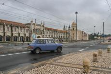 Monastery of the Hieronymites in Lisbon - A classic mini in front of the Monastery of the Hieronymites in Lisbon, Portugal. The monastery is situated close to the Tagus...