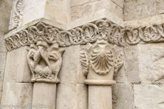 Saint Hilaire Church in Melle - Saint Hilaire Church in Melle: The decorations on the doorposts of the south entrance door. The church is notable for the large amount...