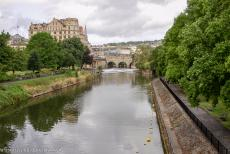 City of Bath - City of Bath: The Pulteney Bridge over the river Avon and the Pulteney Weir. The Pulteney Bridge was constructed in the 1770s. The bridge is one...