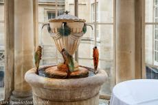 City of Bath - City of Bath: The Spa water fountain in the Pump Room, the King's Bath in the background. The Pump Room is a historic building on Abbey Church...