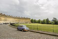 City of Bath - The thirty townhouses in the Royal Crescent in city of Bath were built from the local Bath Stone, the warm golden-coloured limestone...