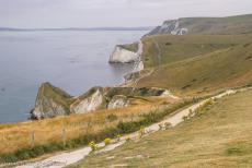 Dorset and East Devon Coast - The Dorset and East Devon Coast: Lulworth Cove is surrounded by the Lulworth Crumple, layers of rock formed by the collision of the...