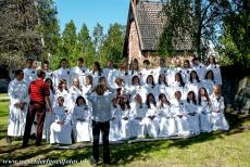 Church Village of Gammelstad, Luleå - Church Town of Gammelstad, Luleå: Children after their Confirmation ceremony in the Lutheran Church, the Northern Churchgate of...