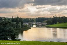 Blenheim Palace - Dark skies looming over the Queen Pool and the Grand Bridge of Blenheim Palace. The Grand Bridge was never completely finished. Blenheim...