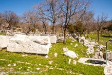 Temple of Apollo Epicurius at Bassae - Numerous ancient stone fragments on the grounds of the Temple of Apollo Epicurius at Bassae. The temple is situated on a rocky outcrop of...