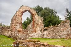 St. Augustine's Abbey in Canterbury - The remains of the Church of St. Pancras in Canterbury, the 7th century church was constructed of Roman brick, one of its surviving columns...