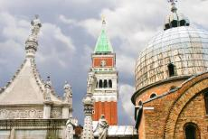 Venice and its Lagoon - Venice and its Lagoon: The St. Mark's Basilica and the Campanile, the bell tower. The Byzantine St. Mark's Basilica with...