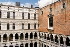 Venice and its Lagoon - Venice and its Lagoon: The courtyard of the Doge's Palace. The Porta della Carta leads into the central courtyard via the Foscari Arch....