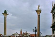 Venice and its Lagoon - Venice and its Lagoon: The two columns in the Piazzetta near the Basilica San Marco. One of the columns in the Piazzetta is topped with the bronze...