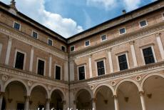 Historic Centre of Urbino - Historic Centre of Urbino: The Courtyard, the Cortile d'Onore, of the Doge's Palace. The Doge's Palace was built for Duke Federico da...