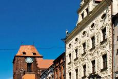 Medieval Town of Torun - Medieval Town of Toruń: The white Dąmbski Palace and the Cathedral of Toruń. The palace was built in 1693 by bishop Stanislaw...