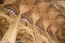 Canterbury Cathedral - Canterbury Cathedral: The ceiling of the nave is one of the highest in the world. The nave, the western transepts and crossing tower of the...