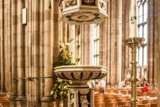 Canterbury Cathedral - Canterbury Cathedral: The ornate baptismal font dates from 1639. The font was smashed up by Puritans in 1641, the fragments were...