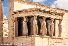 Acropolis of Athens - Acropolis, Athens: The Caryatids are the columns of the Erechtheion, the Caryatids are sculpted female figures serving as...