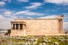 Acropolis of Athens - Acropolis of Athens: The 'Porch of Maidens' with the iconic Caryatids is the south porch of the Erechtheum. The temple is famous for its...