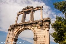 Acropolis of Athens - The Arch of Hadrian is situated at the foot of the Acropolis of Athens. The Arch of Hadrian is a monumental gateway, it spanned an...