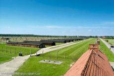 Auschwitz - Birkenau - Auschwitz - Birkenau: The barbed wire fences and buildings of sector BIIa. The BIIb sector was a 'model camp, used for propaganda purposes,...